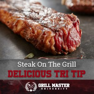 Delicious tri tip steak on the grill