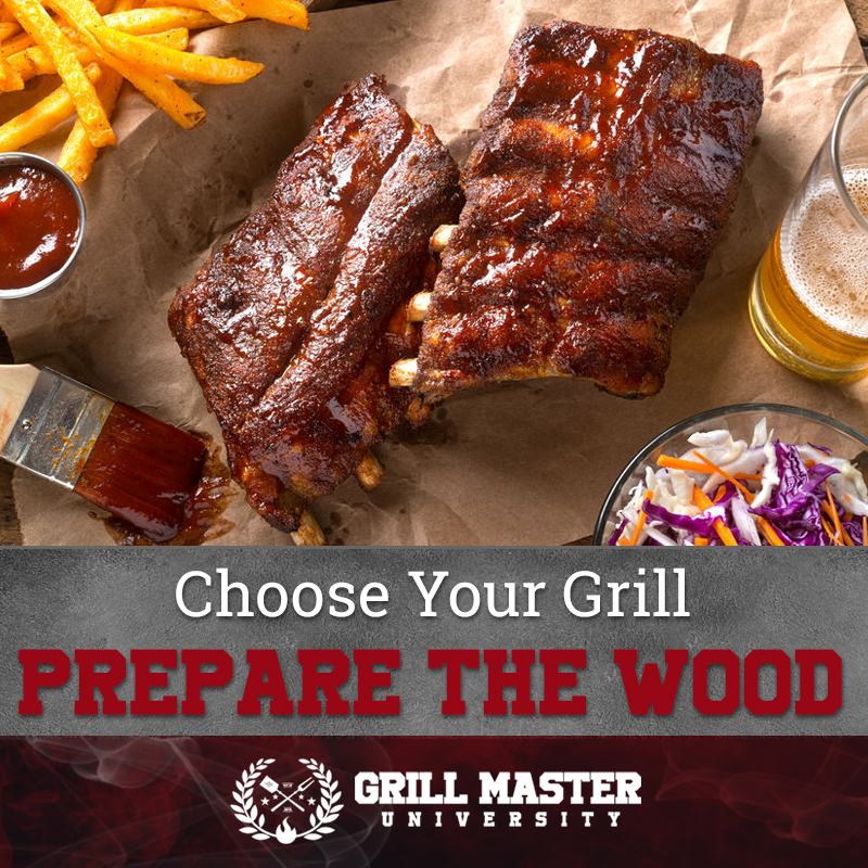 Prepare the wood for the grill