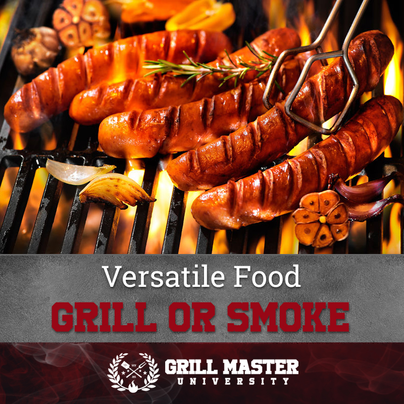 Grill or smoke sausages
