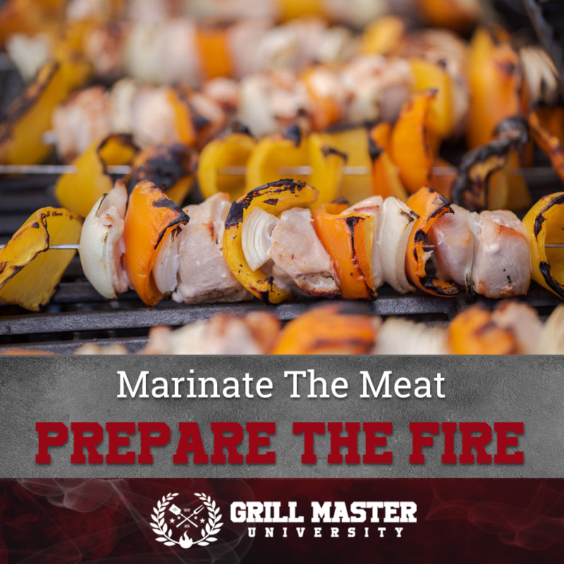 Marinate the meat for kabobs